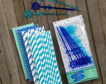 12 Vintage Nautical Theme Cocktail Stirrers and Blue and White Polka Dot, Stripe, Chevron Paper Straws- Cocktail Party Supply- Pool Party
