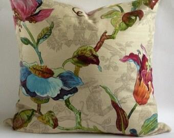 English Garden Floral Pillow Cover