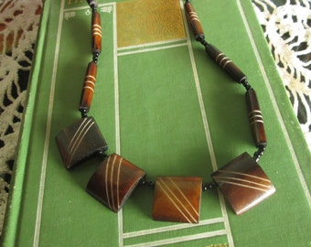 Vintage Handmade Necklace Wooden 20 inch necklace Dark Wood Beads Lovely Minimally Tribal