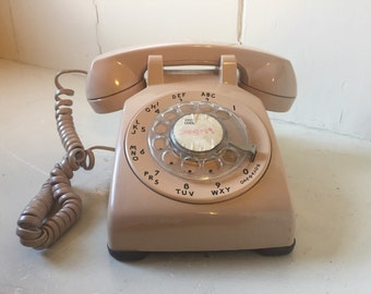 Rotary telephone, AT&T, peach/pink