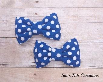 Set of 2 Royal Blue and White Polka Dot Fabric Bow, Girls Piggy Tail Bows, Royal Blue Polka Dot Bow, Polka Dot Fabric Bow Clip