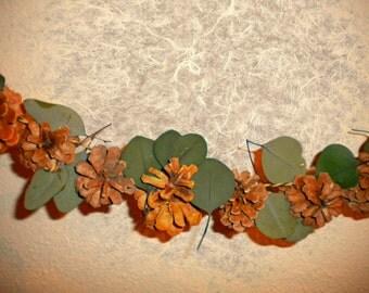 Garland, Pine Cone & Eucalyptus Garland, Holiday Swag, Holiday Garland, Indoor or Outdoor Garland, Mantel Garland, Fireplace Mantel Garland
