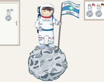 Wall decal astronaut with name and flag