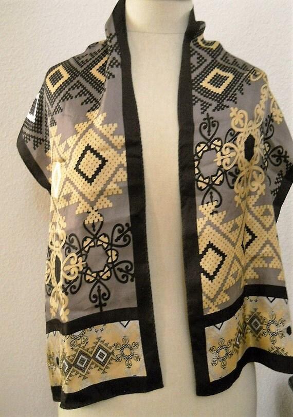 vintage adrienne landau studio silk scarf long wrap brown gold. Black Bedroom Furniture Sets. Home Design Ideas