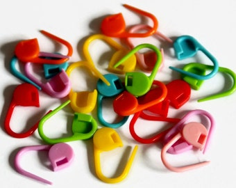 20 Locking Stitch Markers - Mixed Colors Markers - Bright Colourful - Knitting Markers - Crochet Markers - Plastic Stitch Lockers - OC125