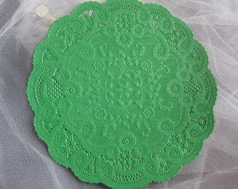 "vtg 6"" inch Grass Kelly Green Rench  PAPER LACE Round DOILIES  10 Pcs Cards Crafts St. Patrick's Day Hallmark"