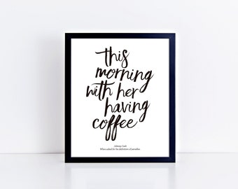 This Morning With Her Having Coffee Art Print • Multiple Color Options • Buyable Frame Option