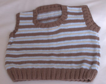 Boys Strippy Hand Knitted Tank Top