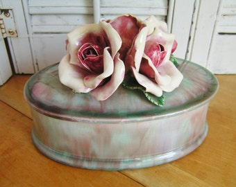 Large Vintage Retro Cabbage Roses 40s Pink and Green Studio Art Pottery Rose Covered Trinket Dish Romantic Cottage Chic