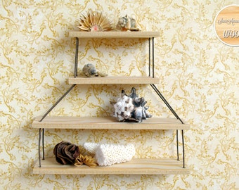 Small Shelf, Miniature Shelf, Rope Shelf, Shadow Box, Wall decor, display, Hanging shelf, wooden shelves, model LIGHTHOUSE