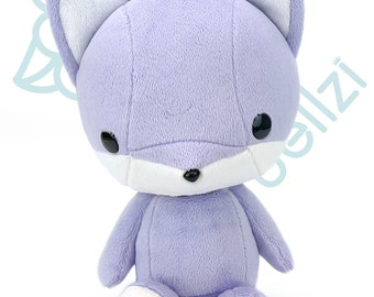"Bellzi® Cute ""Purple"" w/ White Contrast Fox Stuffed Animal Plush - Foxxi"