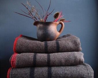 Vintage blanket - wool blanket - camping blanket - London Fire Brigade issue blanket - 60s - brown blanket - picnic blanket - car rug