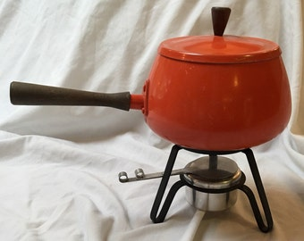 1960s Orange Fondu Pot