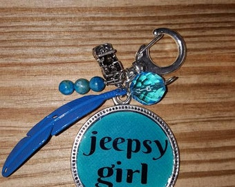 Jeepsy Girl Blue Feather Key Chain