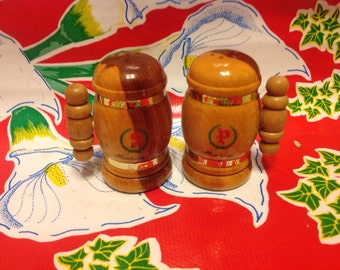 Vintage wooden stein salt and pepper shakers- souvenir of Montana
