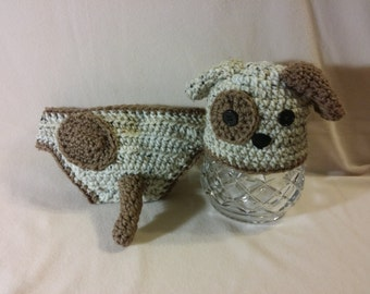Adorable Crochet Puppy Hat and Diaper Cover Set, sizes newborn to 12 months, photo prop, baby shower gift,