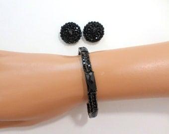 Black Rhinestone Bracelet Earrings Lucite Bracelet Black Jewelry Set Black Stretch Bracelet Crystal Clip On Earrings Liz Claiborne Jewelry