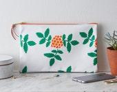 Screen Printed Leather Clutch Purse Bag Handbag  Rowan Berry Orange Green Botanical Gift Skandi