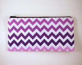 Purple Ochre Chevron Zipper Pouch, Make Up Bag, Pencil Pouch, Gadget Bag