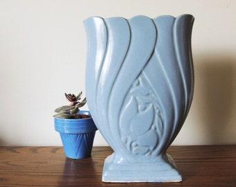 Brush McCoy Vintage 1940's Tall Periwinkle Blue Vase
