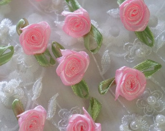 "1"" pink Satin Ribbon Flower Appliques -50 pcs"