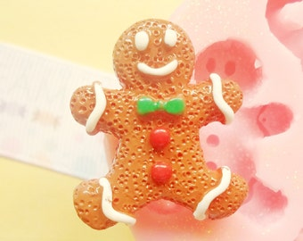30m Gingerbread Cookie Biscuit Flexible Silicone Mold Stampi Decoden Kawaii Sweets Resin Fimo Polymer Clay Sculpey Wax Soap Charm Cabochon
