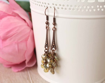 Copper Vines - Green and Copper Beaded Earrings
