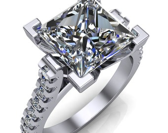 Steele Square Multi Stone Cathedral Ring