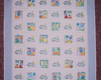 Baby Boy machine embroidered baby quilt or wall hanging