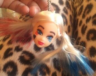 Harley quinn dolls head keyring