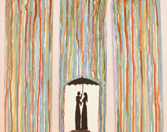 "Three Canvas Acrylic Painting ""Lovers in the Rain"""