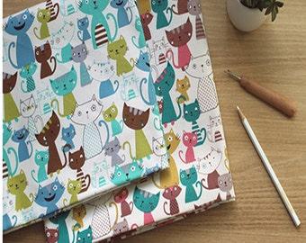 """Cat Oxford Cotton Fabric sewing 90cmX110cm( 36""""x44"""") EW beautycat"""