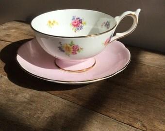 English Pink Harleigh Tea Cup and Saucer Set