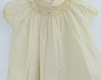 Vintage baby dress. Yellow with smocking, Nathan Krauskopf for 12 mo
