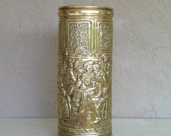 Vintage Brass UMBRELLA STAND-Cane with Tavern/Pub/Bar Scene/Rustic,Repousse style Canister Round Entryway Hallway Foyer Office MUST Have!