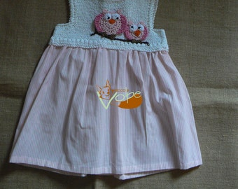 Pink cotton dress cotton dress with stripes and colorful owls decoration