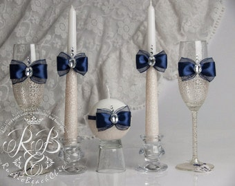 Navy blue and ivory, wedding set, champagne flutes and unity candle, lace, round candles, toasting glasses, votive candles, pillar, 5 pcs