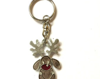 Rudolf the Red Nose Reindeer Key-ring (keychain), English Pewter, Handmade (H)