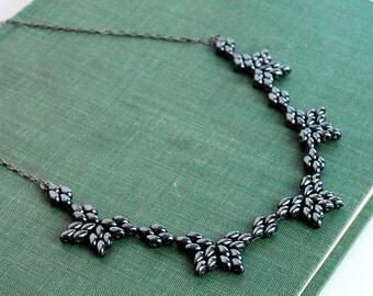 Gunmetal beadwork necklace