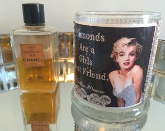 Vanity Decor Marilyn Monroe Diamonds Are a Girls Best Friend Rhinestone Crystals Glass Vase