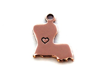 2x Rose Gold Plated Louisiana State Charms w/ Hearts - M132/H-LA