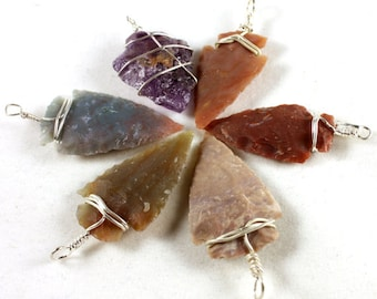 Assorted Wire Wrapped Arrowhead Stone Pendants / Silver Plated Wire (1x) - N041
