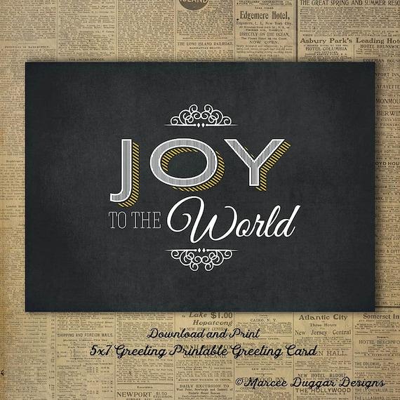 Joy to the World Greeting Card | Chalkboard | Christmas | Printable | Downloadable Graphic | DG 006
