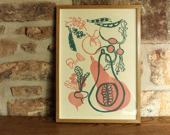 A3 Limited Edition Vegetables Linocut