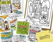 Printable Hand-drawn IDENTITY Scripture Memory Bible Verse Cards with Coloring Pages + free 8x10 // DIGITAL DOWNLOAD