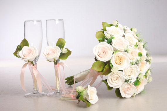 Clay wedding bouquet and boutonniere set,  bouquet made of air light clay, roses