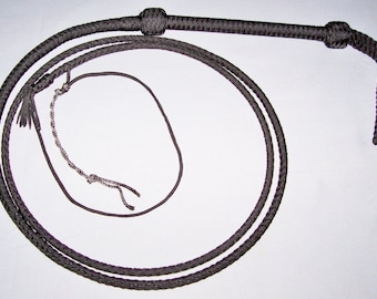 7Ft. 6 Plait Black Nylon Bullwhip with Cable Core Whip Bull Whip Sku #CW1