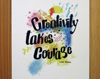 Creativity Quote by Henri Matisse - Watercolor Print A4
