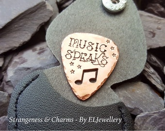 Hand Stamped 'Music Speaks' Copper Guitar Pick with Leather Keyring Case, Music Lovers, Music Notes, Fathers Gift, Plectrum,Couples Gift.