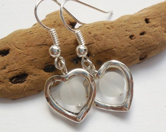 Crystal White Sea Glass Earrings,Sea Glass Jewelry,Beach Glass Earrings,Beach Glass Jewelry, Silver Heart earrings. FREE SHIPPING in the US.